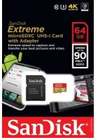 SanDisk Extreme micro SDXC UHS-I Card with Adapter 64Gb (90Mb/s)